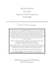 MAT 167: Statistics Final Exam Instructor: Anthony Tanbakuchi ...
