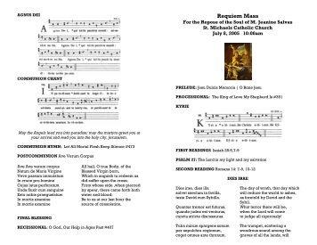 Requiem Mass for the Repose of the Soul of Jeanine Salvas