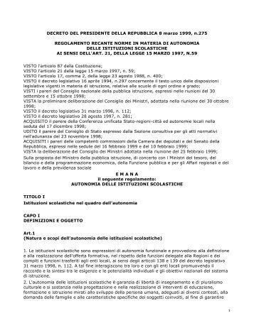 Decreto presidente della repubblica 15 marzo 2010 n 89 for Decreto presidente della repubblica