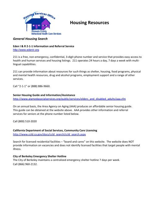 Excellent Free Resources Behavioral >> Housing Resources Alameda County Behavioral Health