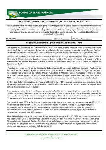 Erradicação do Trabalho Infantil - Portal da Transparência do ...
