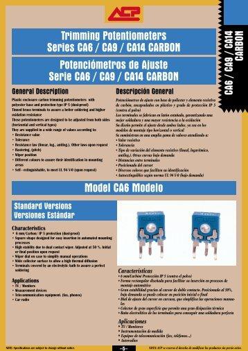 Model CA6 Modelo Trimming Potentiometers Series CA6 ... - Micropik