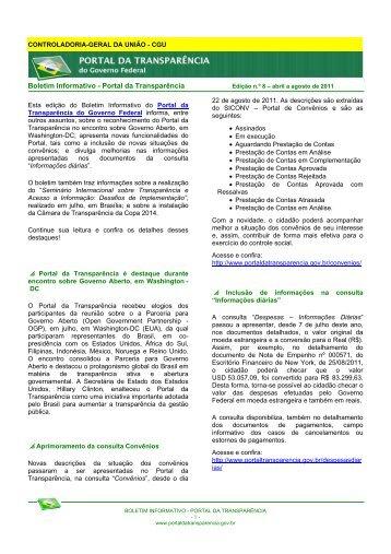 Edição nº 8 - Abril a Agosto de 2011 - Portal da Transparência do ...