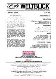 IPS-WELTBLICK Jg. 26 - Nr. 22 | 28. Mai 2007