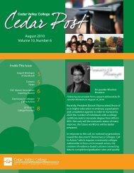 August 2010 Volume 10, Number 6 - Cedar Valley College