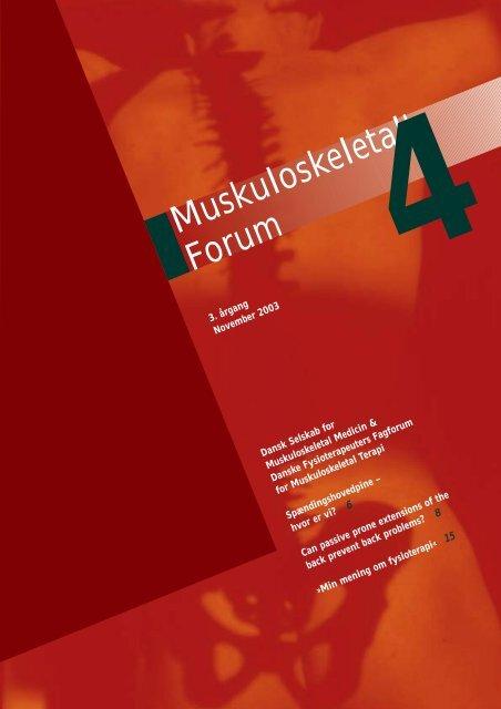 Muskuloskeletalt Forum - 4/2003 (pdf) - Fagforum for ...