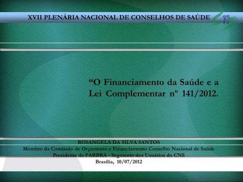 XVII Plenária de Conselhos - Conselho Nacional de Saúde