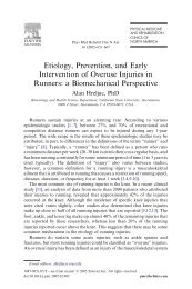 Etiology, Prevention, and Early Intervention of Overuse Injuries in ...