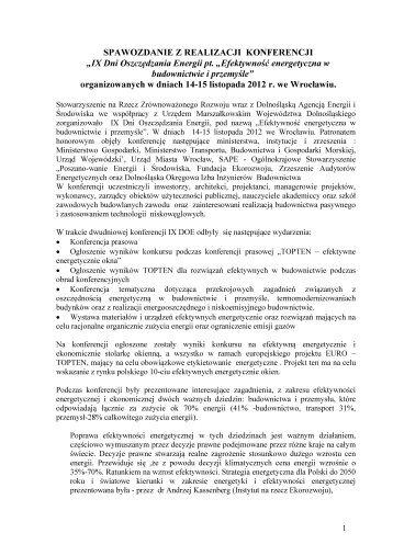 sprawozdanie z realizacji konferencji - Cieplej.pl