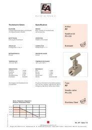 AV Needle-valve PN 200 Stainless Steel