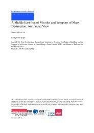 A Middle East free of Missiles and Weapons of Mass Destruction: An ...