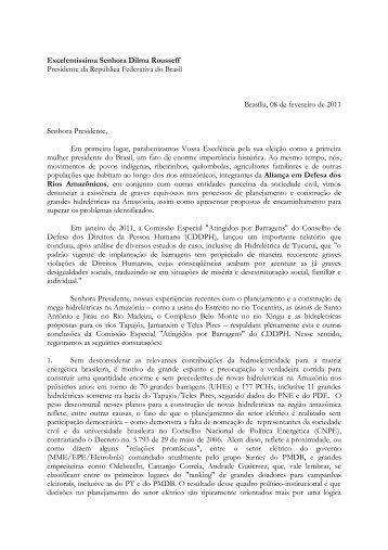 Carta à Presidente Dilma Rousseff - Xingu Vivo