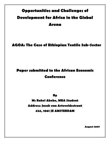 The Case of Ethiopian Textile Sub-Sector - United Nations ...