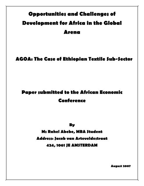 The Case of Ethiopian Textile Sub-Sector - United Nations