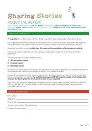 ACQUITTAL REPORT - Community Arts Network Western Australia