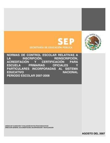 Normas de inscripción, reinscripción, acreditación y certificación ...