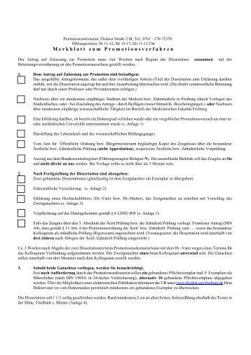Promotionsantrag - Medizinische Fakultät - Albert-Ludwigs ...