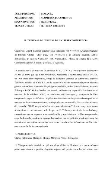 demanda primer otrosi : acompaña documentos segundo otrosi