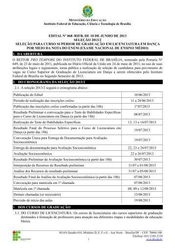 Edital do Processo Seletivo para o Curso de Licenciatura em ... - IFB