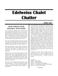 NEWS FROM YOUR GENERAL MANAGER! - Edelweiss Chalet ...