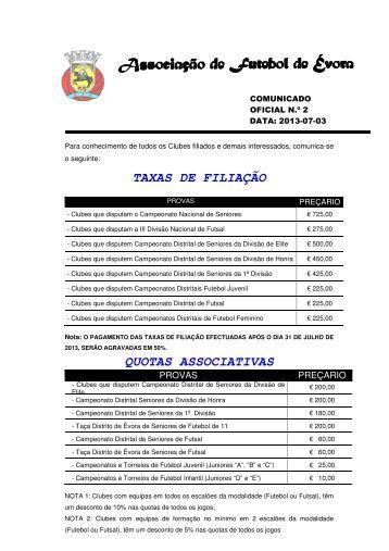 Comunicado - Associação de Futebol de Évora