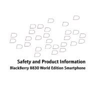 Safety And Product Information Booklet For BlackBerry 8830 - Cellcom