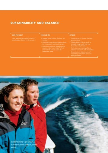 sustainability and balance - Annual Report 2003 - Meridian Energy