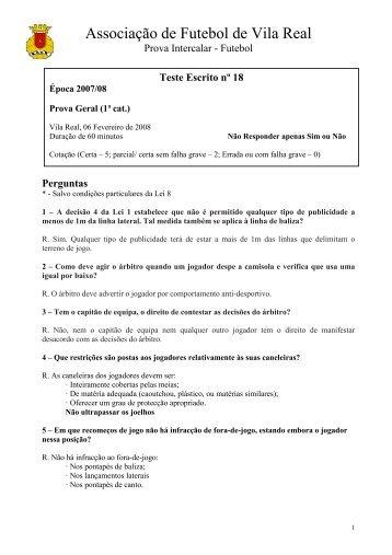 Teste n.º 18 - Associação de Futebol de Vila Real
