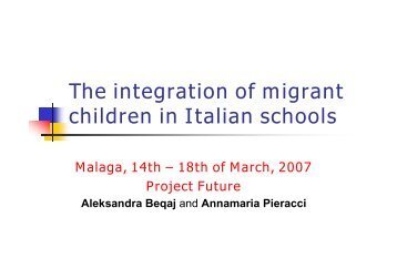 The integration of migrant children in Italian schools - future