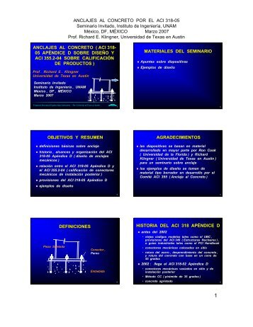 ANCLAJES AL CONCRETO POR EL ACI 318-05 Seminario Invitado ...