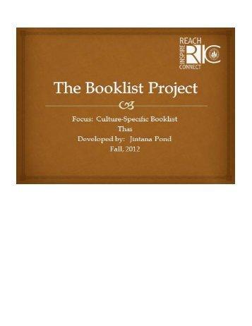 Thai Booklist by Jintana Pond for Grades K-5.pdf - RITELL