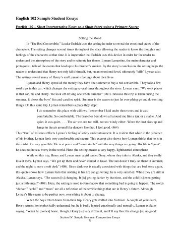 Response To Lit Essay Student Sample Englishsample Student Essays