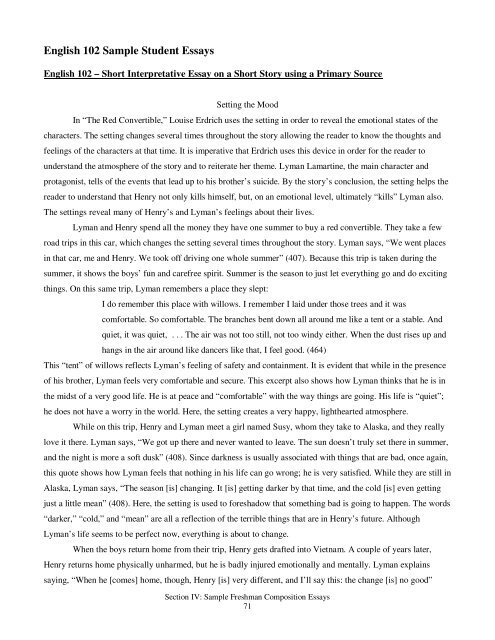 English  Sample Student Essays
