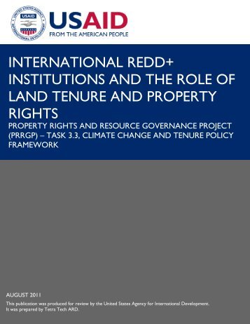 International REDD Institutions and the Role of LTPR - Land Tenure ...