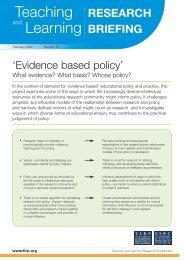 Evidence based policy - Teaching and Learning Research Programme