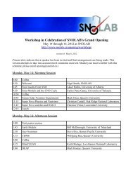 Workshop in Celebration of SNOLAB's Grand Opening