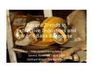 Recent Trends in Extractive Industries and World Bank Response