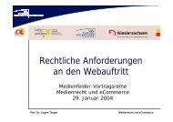 Rechtliche Anforderungen an den Webauftritt - Bürgerliches Recht ...