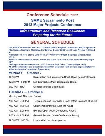 Conference Schedule - SAME Sacramento
