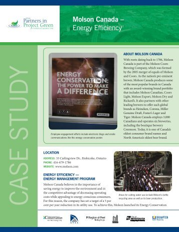 Molson Canada – Energy Efficiency - Partners in Project Green