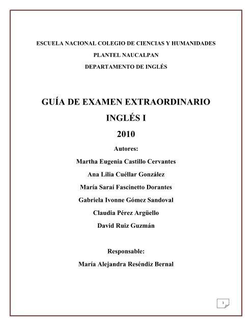 Guãa De Examen Extraordinario Cch Naucalpan Universidad