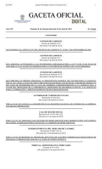 Gaceta Oficial Digital, miércoles 10 de abril de 2013
