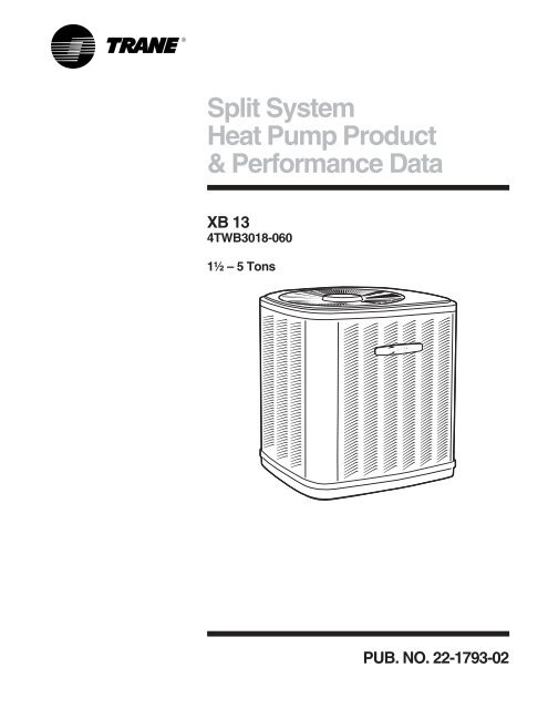 Trane XB13 Heat Pump Product Data Specifications American