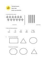 Lower Elementary Worksheet Assessment - School on Wheels