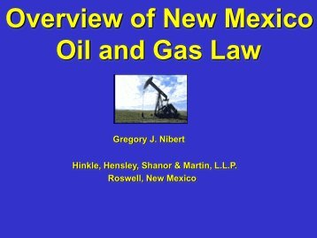 Overview of New Mexico Oil and Gas Law