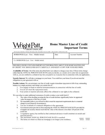 Home Master Line of Credit Important Terms