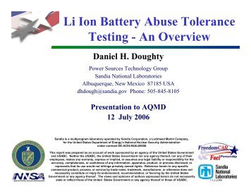 Li Ion Battery Abuse Tolerance Testing - An Overview