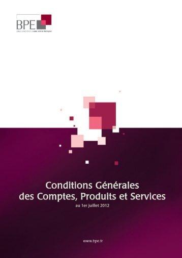 CONDITIONS GÉNÉRALES APPLICABLES AUX COMPTES ... - BPE