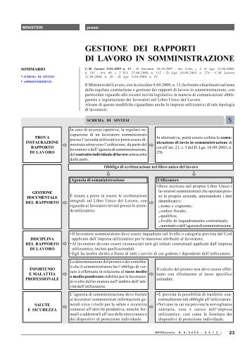 gestione dei rapporti di lavoro in somministrazione - Ratio