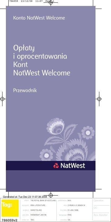 Opłaty i oprocentowania Kont NatWest Welcome